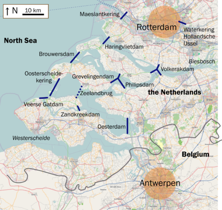 The Delta Works are located in the provinces of South Holland and