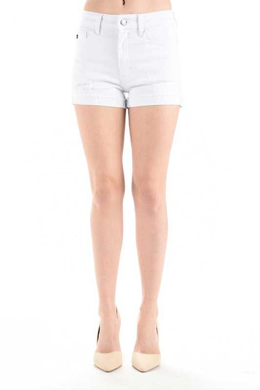 879b1e3553 Kancan Jeans White Cuffed Destructed Jean Shorts for Women KC6137WT ...