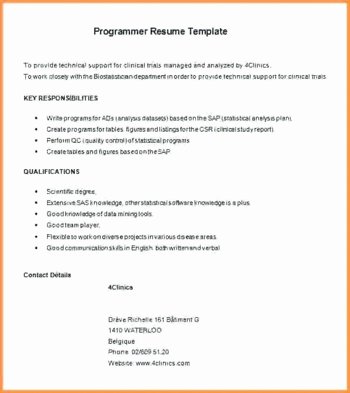Entry Level Programmer Resume Elegant 11 12 Entry Level Sas Programmer Resume Job Resume Samples Resume Template Professional Best Resume Template