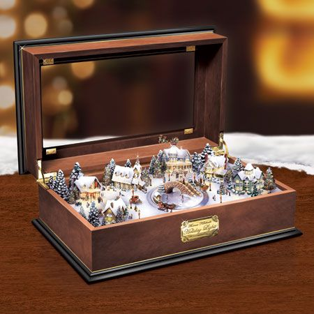 Thomas Kinkade Holiday Lights Masterpiece Wooden Music Box
