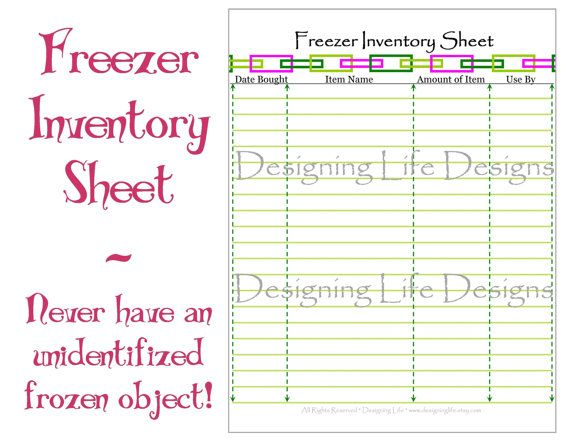 Freezer Inventory Sheet - Printable PDF for Meal Planning