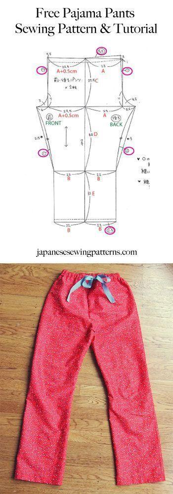 Free pyjama pajama pants sewing pattern. Adjust the size to fit you ...