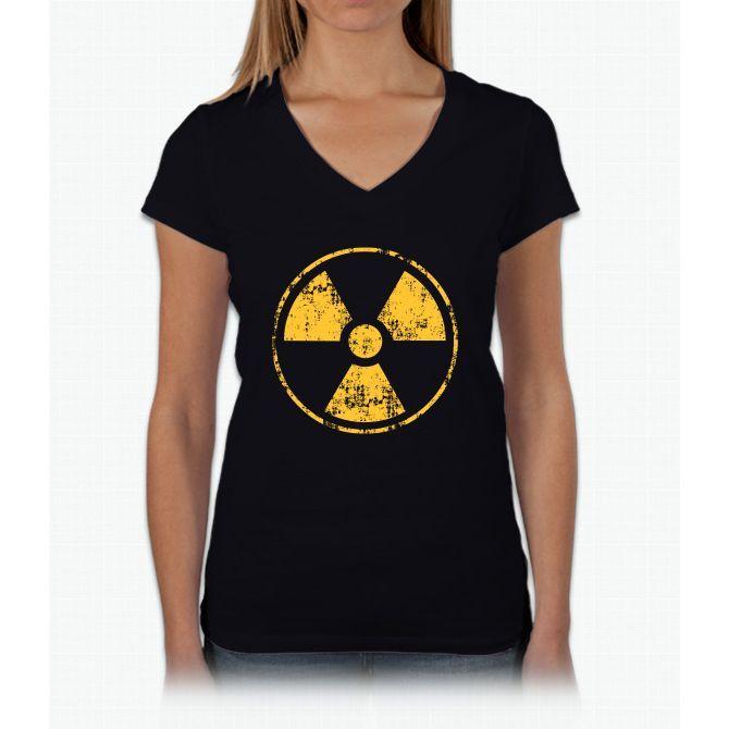 Radiation Symbol Womens V-Neck T-Shirt
