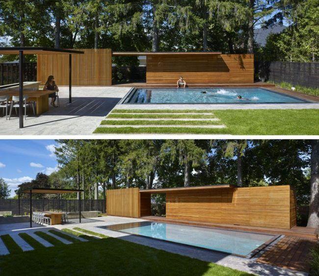Poolhaus Holz Garten Sichtschutz Pool