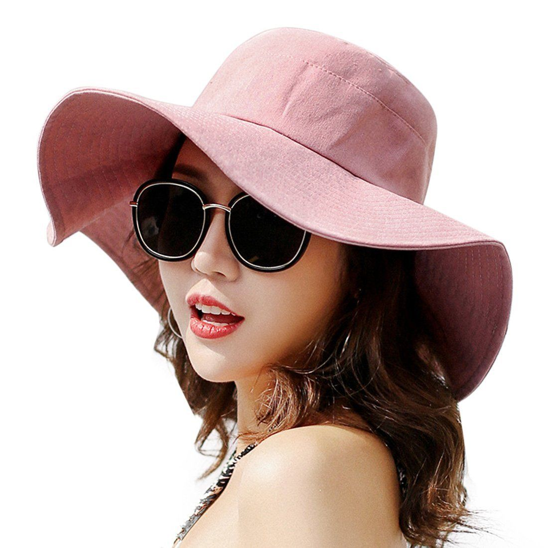 df072c479a3 HUAMULAN Women Sun Hat Summer Beach Floppy Cotton Cap Wide Brim UPF 50 Chin  Cord at Amazon Women s Clothing store