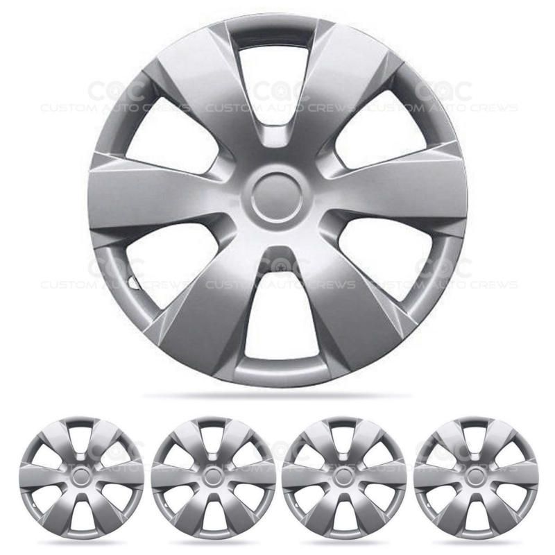 Details About 4 Piece Set Of 16 Inch Silver Snap On Hub Caps Full