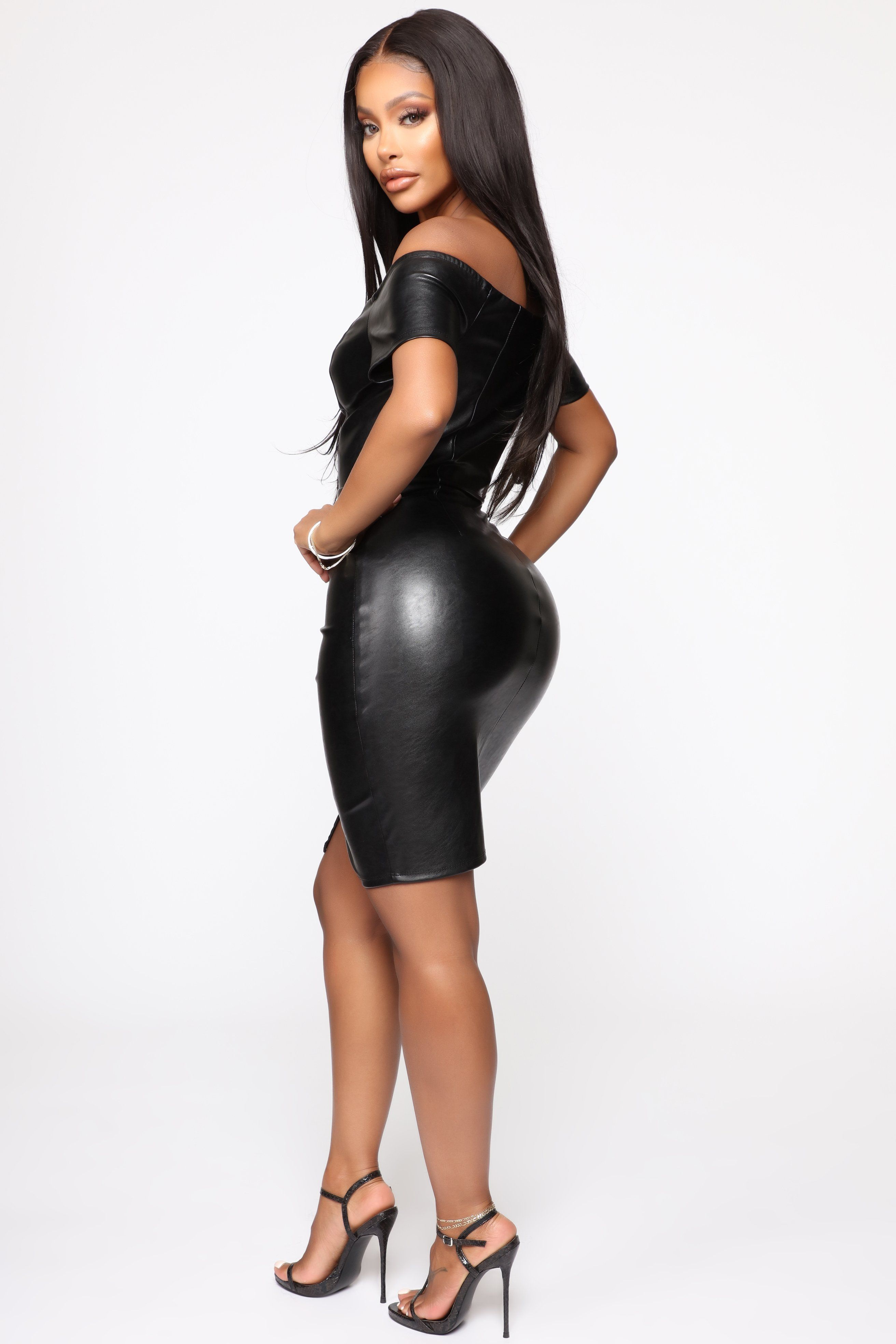 Karmen PU Leather Mini Dress Black in 2020 Leather