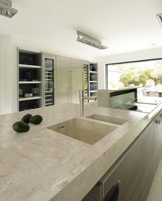 Contemporary Kitchen With Solid Surface Corian Type Countertop And Integrated Skink