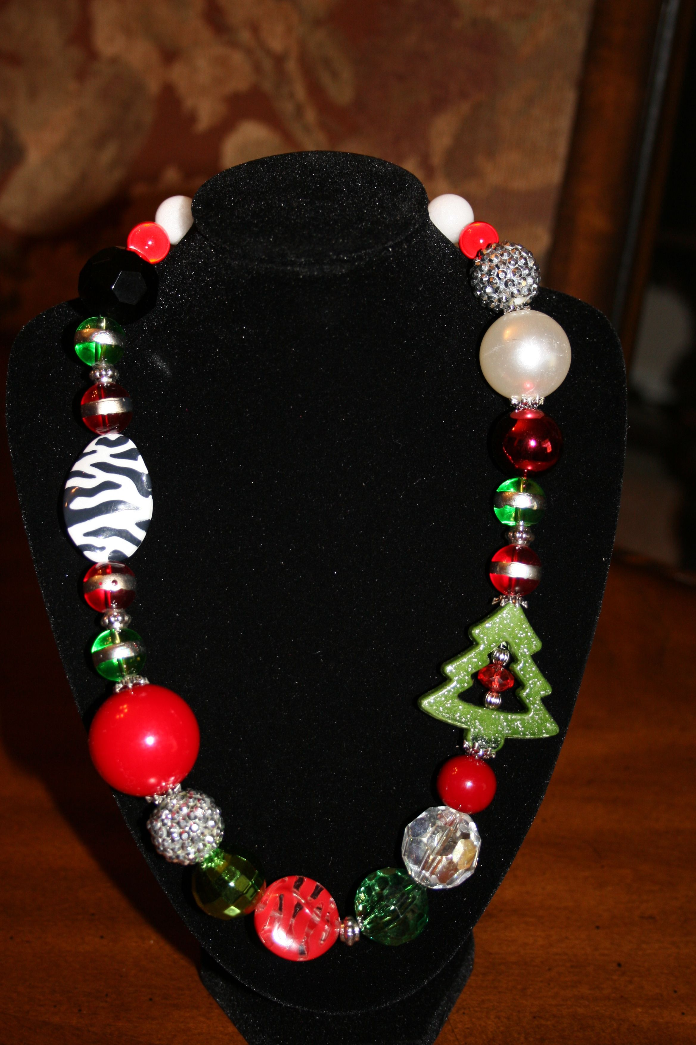 Fun Chunky Christmas Necklace Christmas Jewelry Christmas Necklace Themed Jewelry