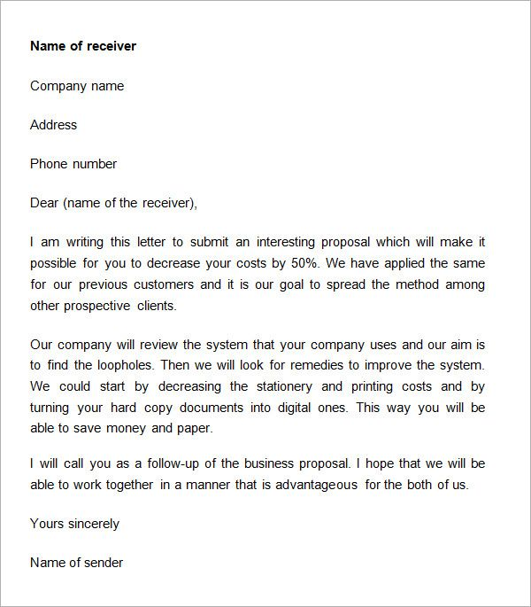 Business Proposal Cover Letter Sample Doc | Anexa Cloud