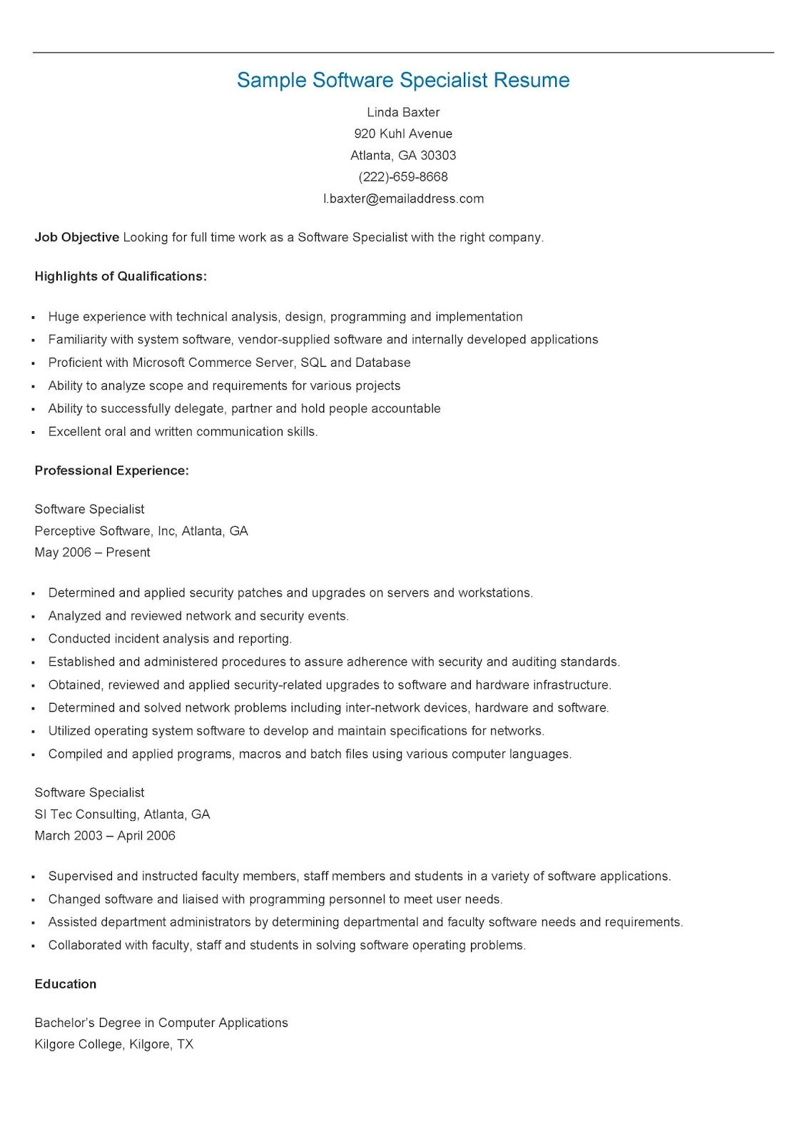 Sample Software Specialist Resume  Resame    Resume