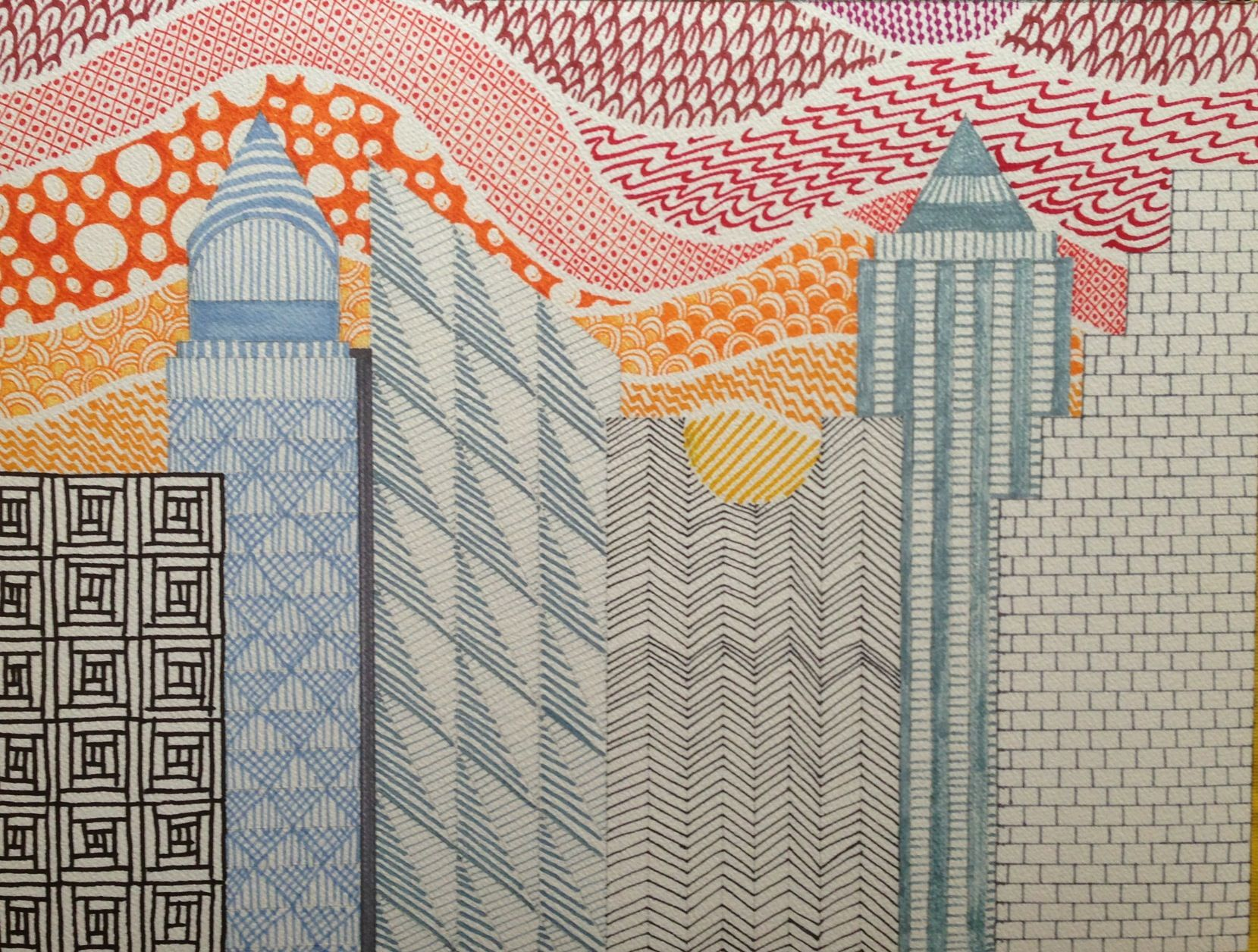 Zentangle City Teaching Art Mural Zentangle Tutorial