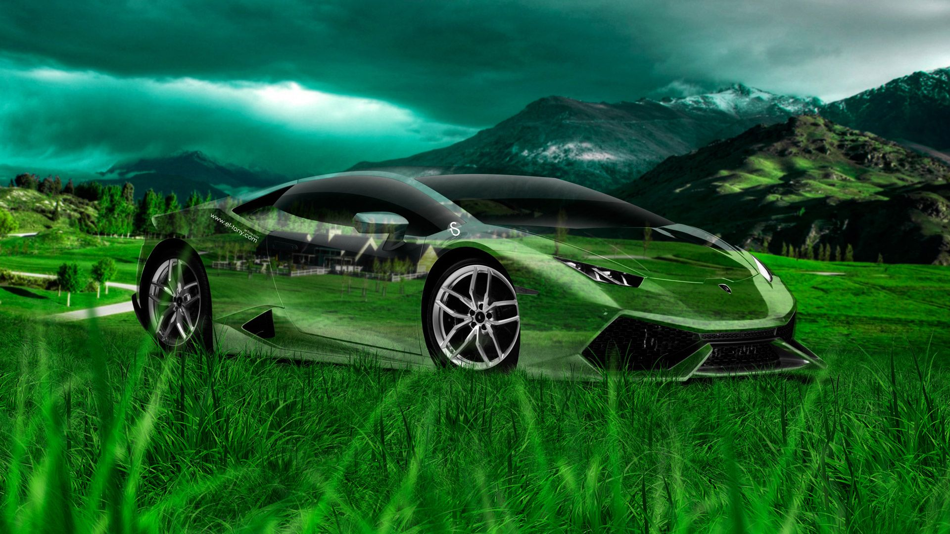 Nice Lamborghini Huracan Crystal Nature Car 2014 Art Photoshop