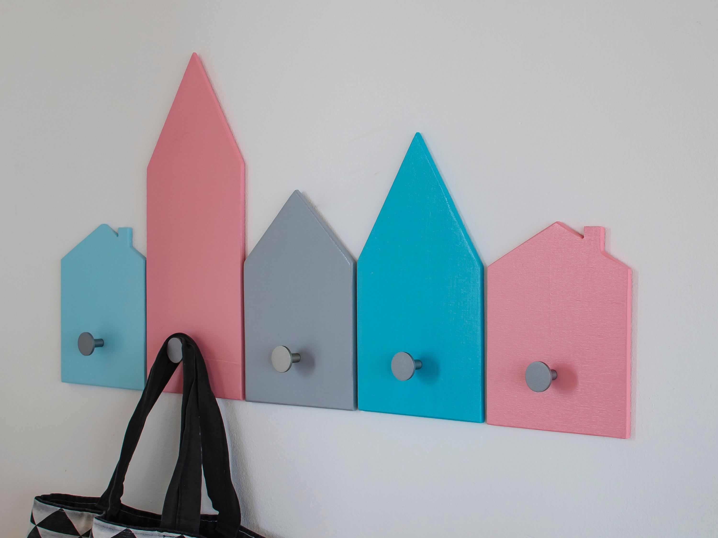 Little Wooden House Nursery Decor Wall Hooks For Kids Room Etsy Peg Board Wood Banner Coat Rack Wall