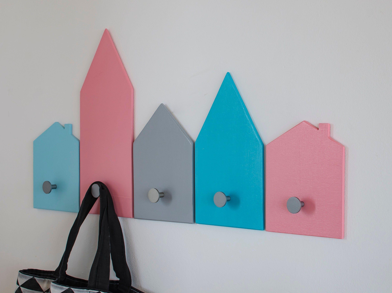 House Wall Hooks Kids Peg Board Wooden Wall Coat Rack For