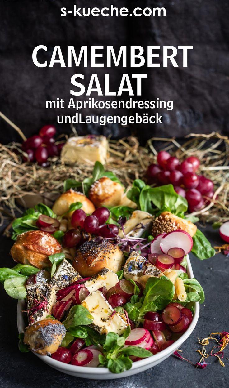 Heumilch Camembert Salat mit Aprikosendressing und Laugengebäck