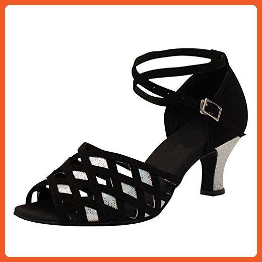 0a13bfd27f9f Shoesland W928 Women s Peep Toe Chunky Heel Salsa Tango Ballroom Latin  Dance Dance Shoes Black Satin
