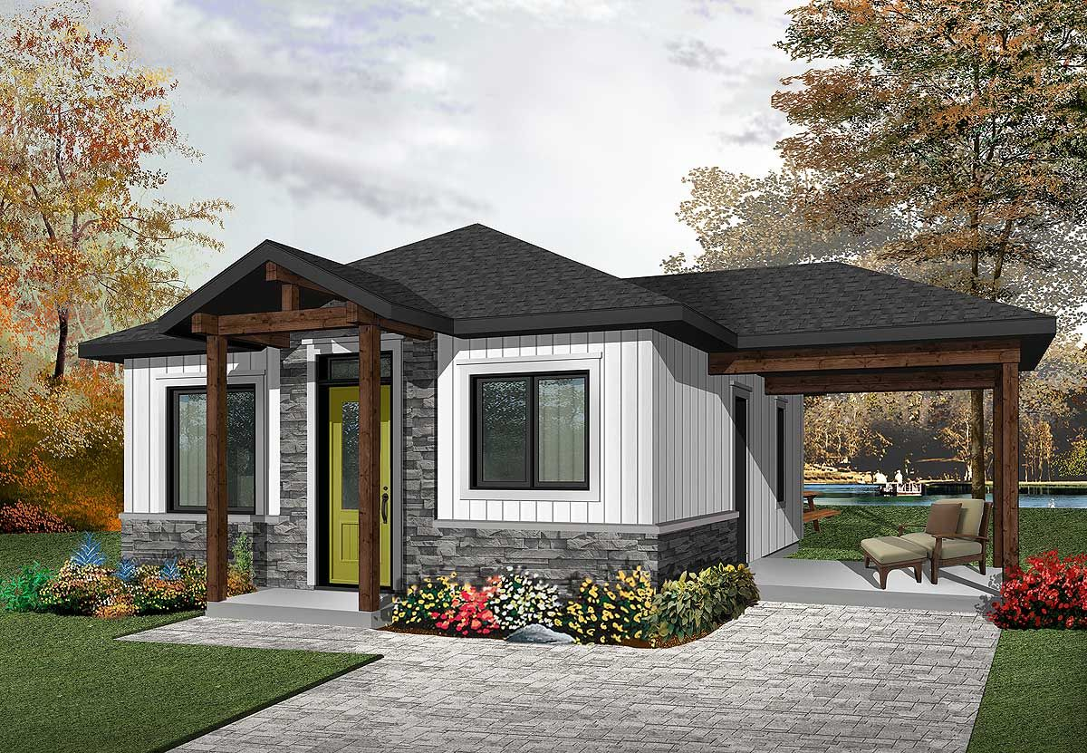 Plan 22405dr Two Bedroom Tiny Cottage Tiny Cottage Small Cottage House Plans Drummond House Plans