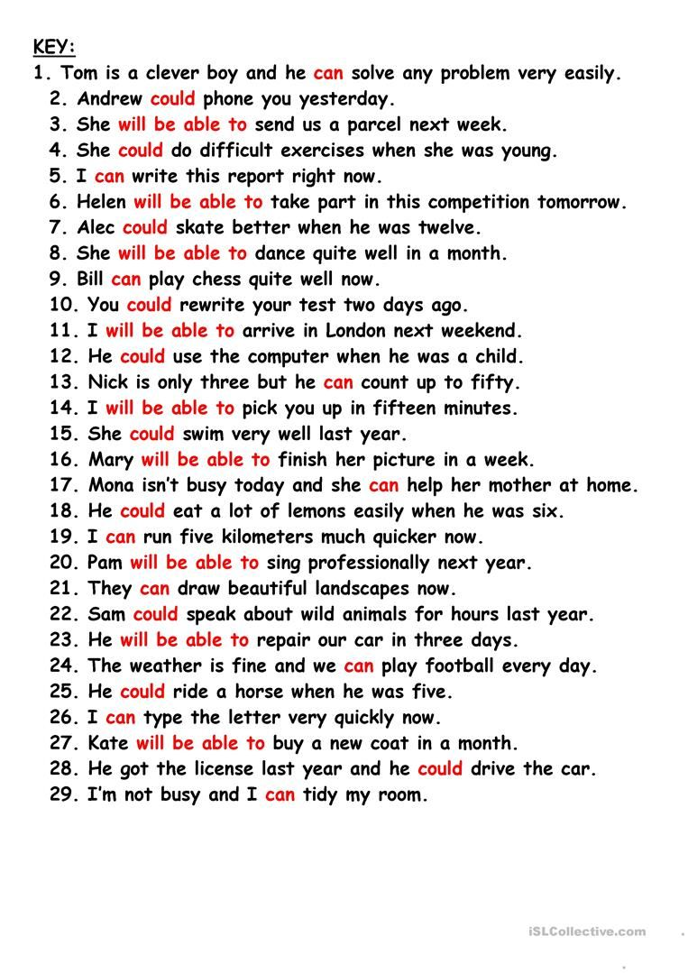 Can Could Will Be Able To Worksheet Free Esl Printable