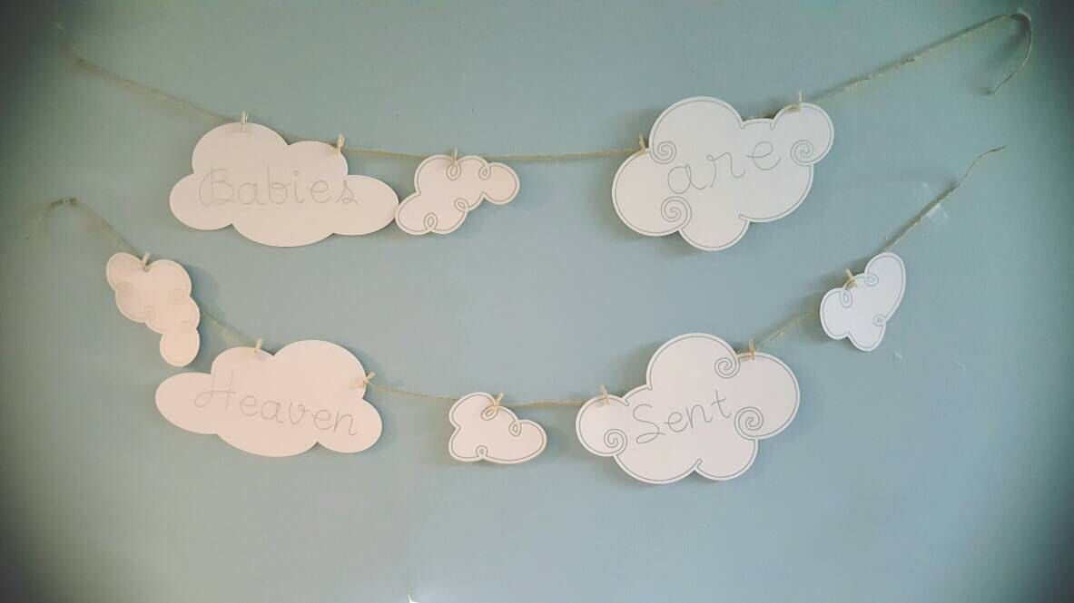 Heaven sent baby shower decoration neutral gender baby for Cloud centerpieces