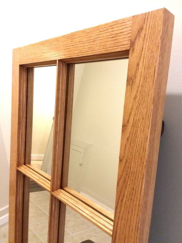 Decorative Natural Oak 4 Pane Window Mirror Entryway Living Room Made In Usa Mansionmirrors Classicallystyled4panewindowframemirror Wood Window Frame
