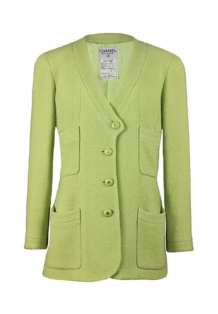 Vintage pale green tweed Chanel jacket. A straight silhouette ...