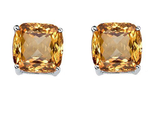 Original Star K Tm Cushion Cut 7mm Simulated Imperial Yellow Topaz Earrings Studs In 925 Sterling Silver