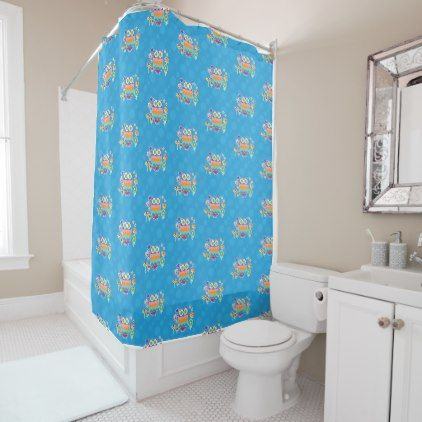 Colorful Geometric Owl with Butterfly and Flowers Shower Curtain - shower curtains home decor custom idea personalize bathroom