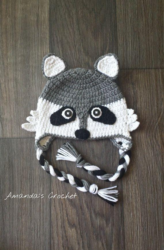 Crochet Raccoon Hat Toddler Raccoon Hat by AmandasCrochet23  01eb0d73797