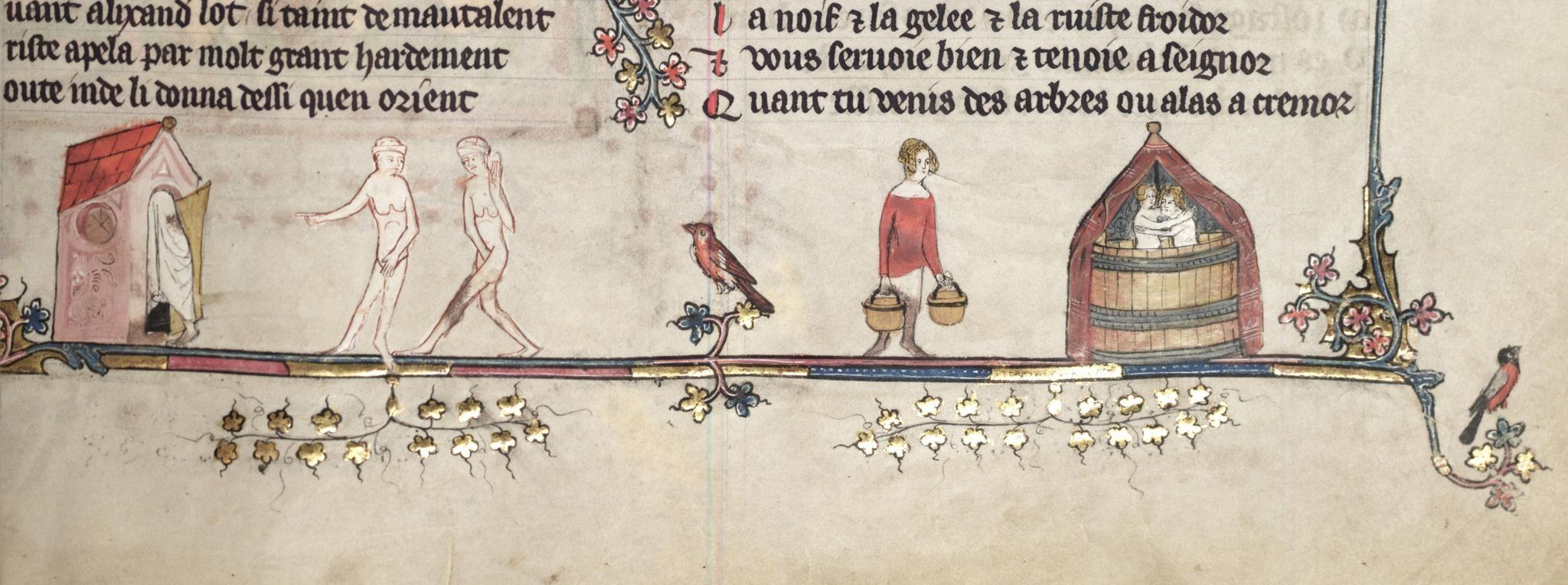 Taking baths in a bathhouse or sauna and a big tub under a tent. Oxford, Bodleian Library MS Bodley 264