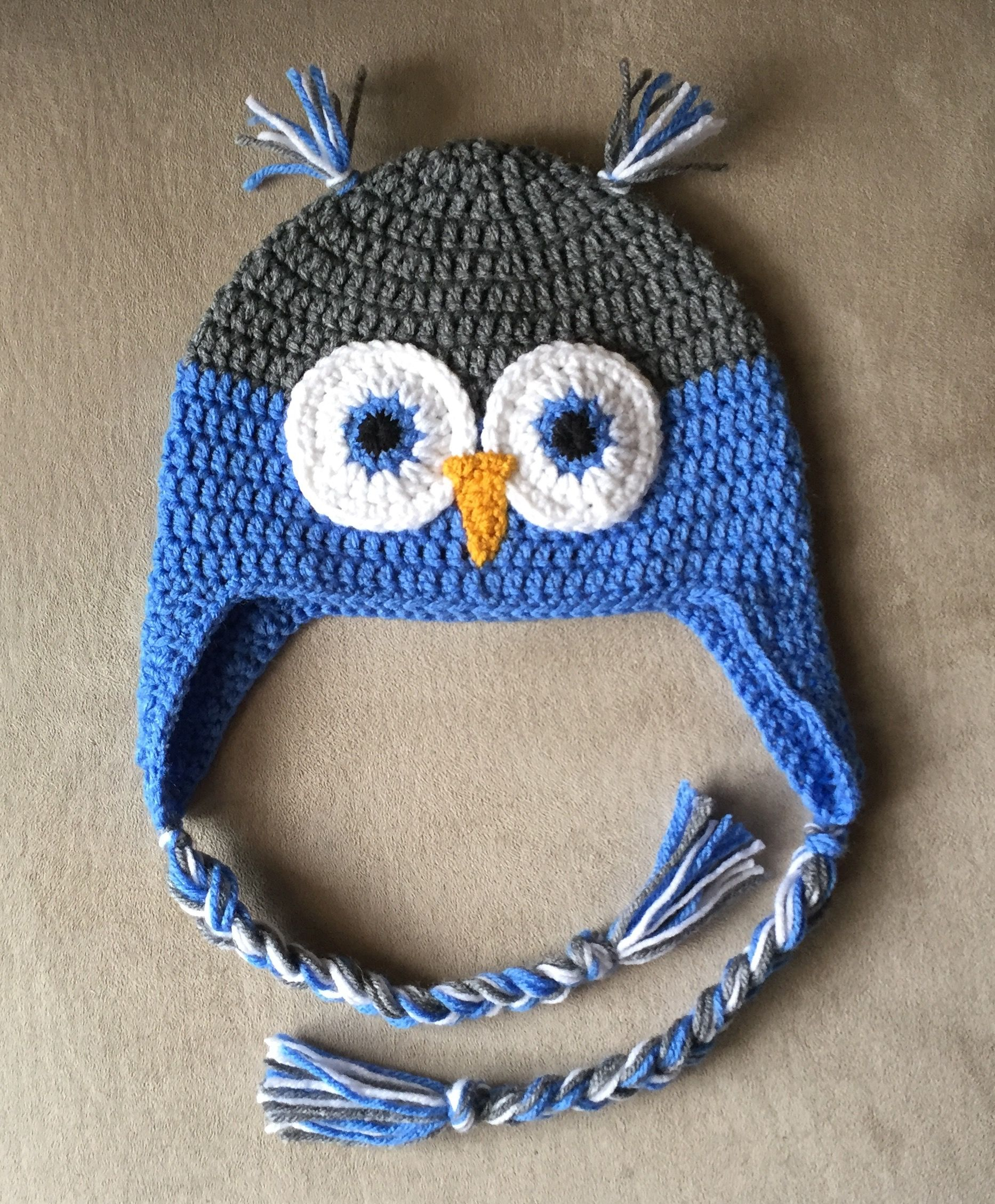 Adult owl earflap hat. From free pattern courtesy of Repeat Crafter ...
