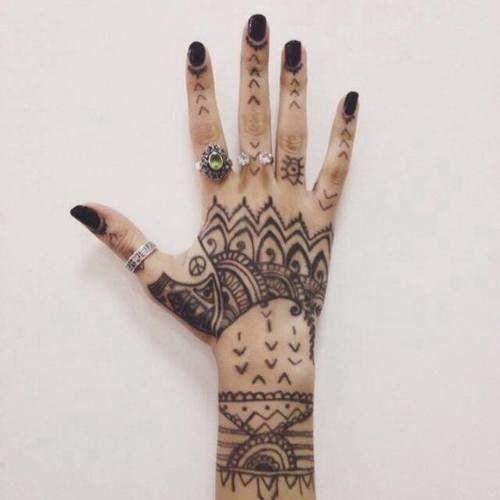 Black Black Nails Hand Tattoos Rings Tattoo Tattoos