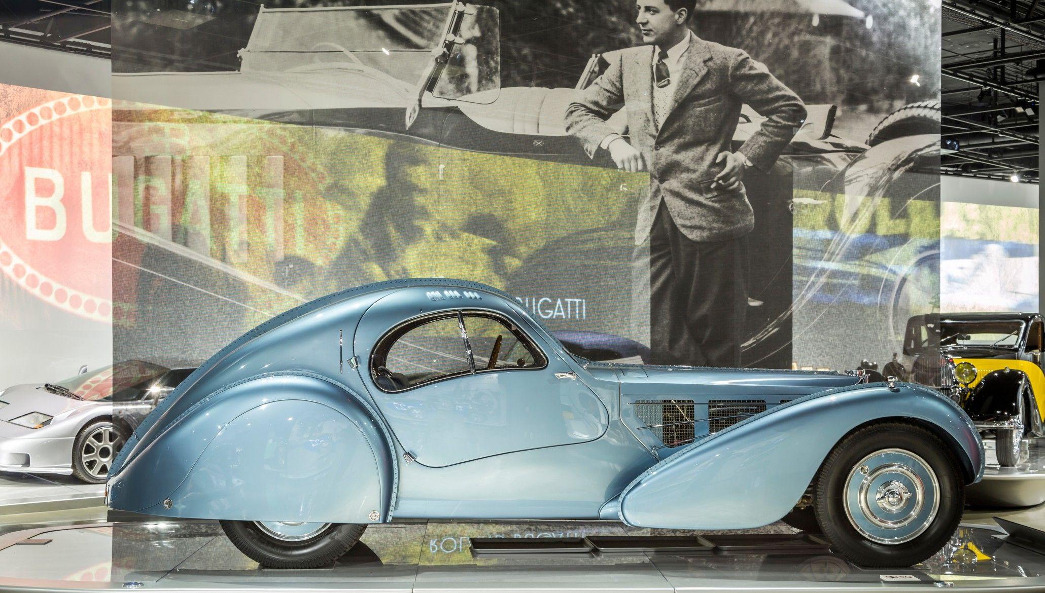 Elegant Peter Mullinu0027s 1936 Bugatti Type 57SC Atlantic At The Petersen Automotive  Museum.