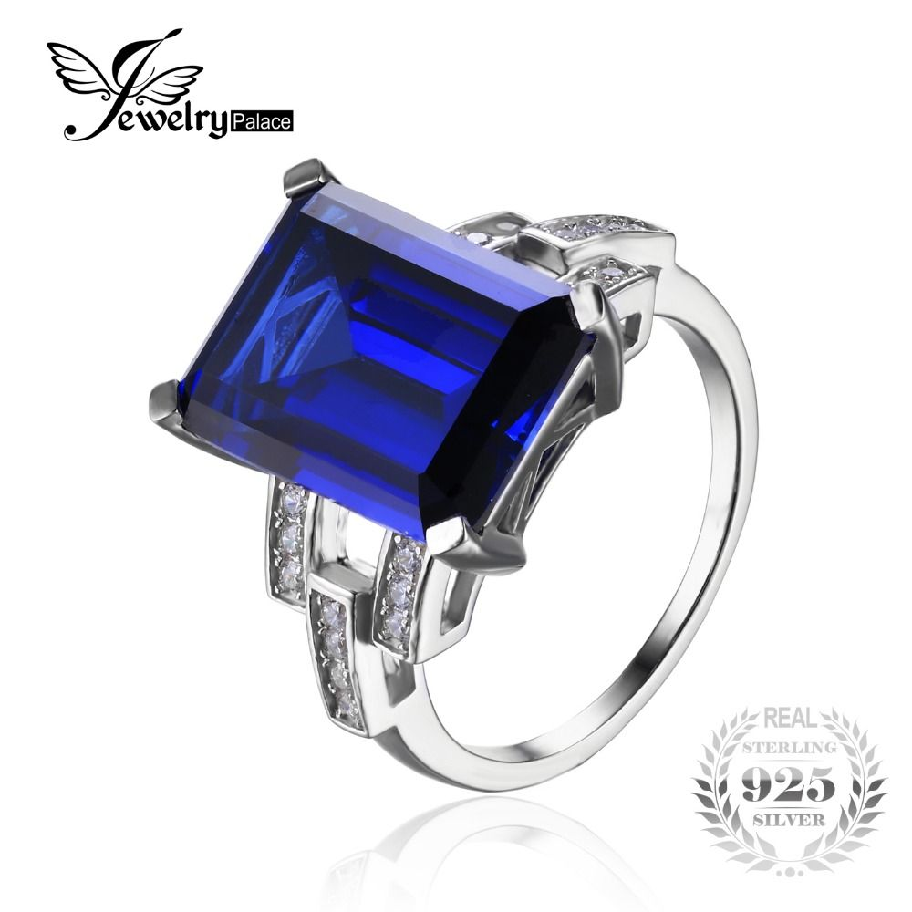 JewelryPalace Luxury Emerald Cut 9 6ct Blue Created Sapphire