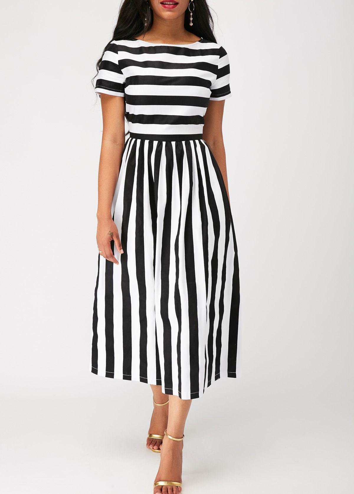 Stripe print short sleeve zipper back dress on sale only us