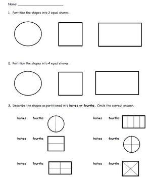 Partitioning Shapes Assessment 1 G A 3 Math Assessment 1st Grade Math First Grade Math