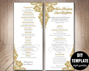 Elegant Wedding Program TemplateDIY By Paperfull