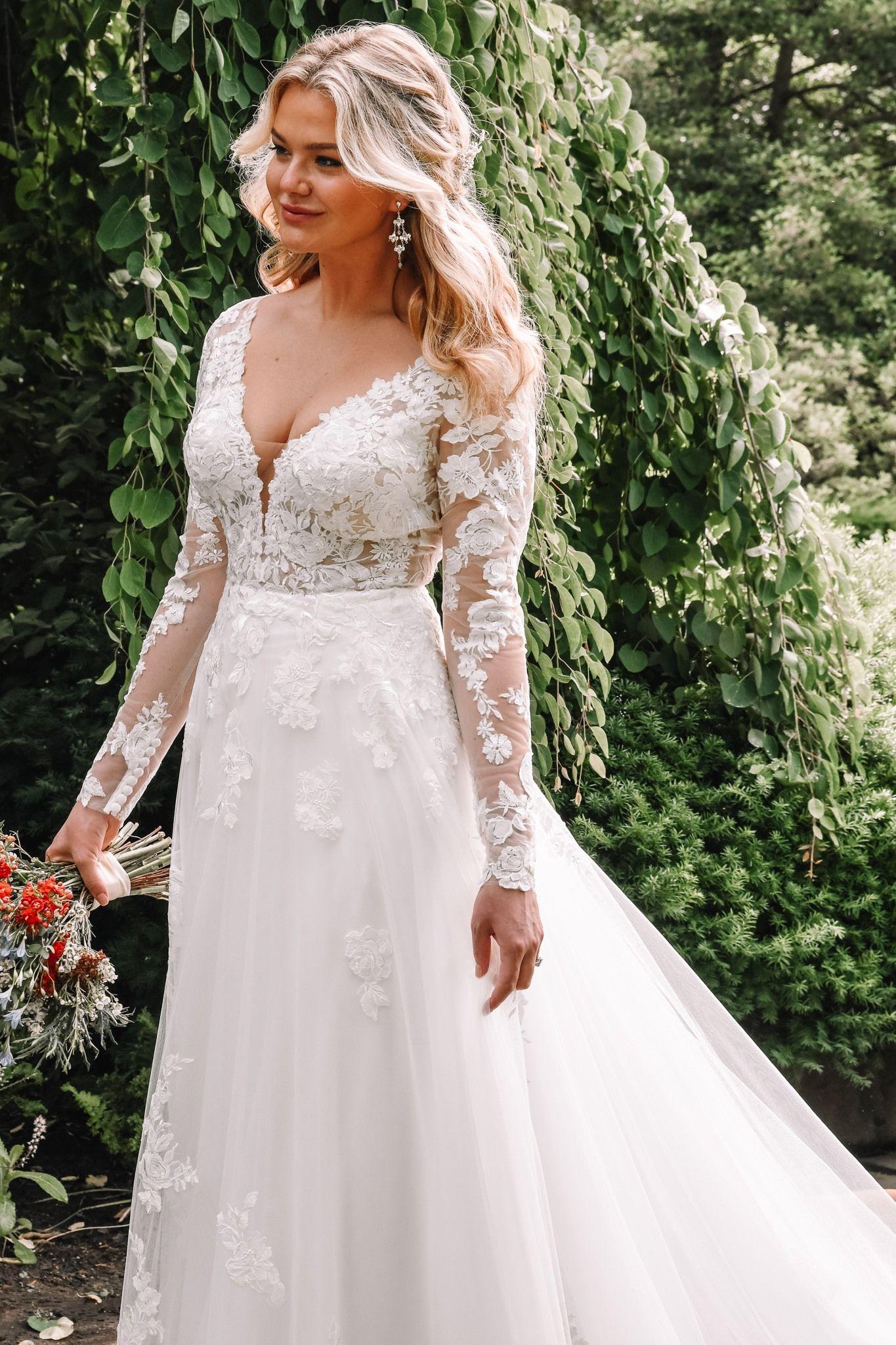 Essense Of Australia D2846 Long Sleeve Wedding Dress Lace Essense Of Australia Wedding Dresses Lace Wedding Dress With Sleeves [ 2048 x 1365 Pixel ]