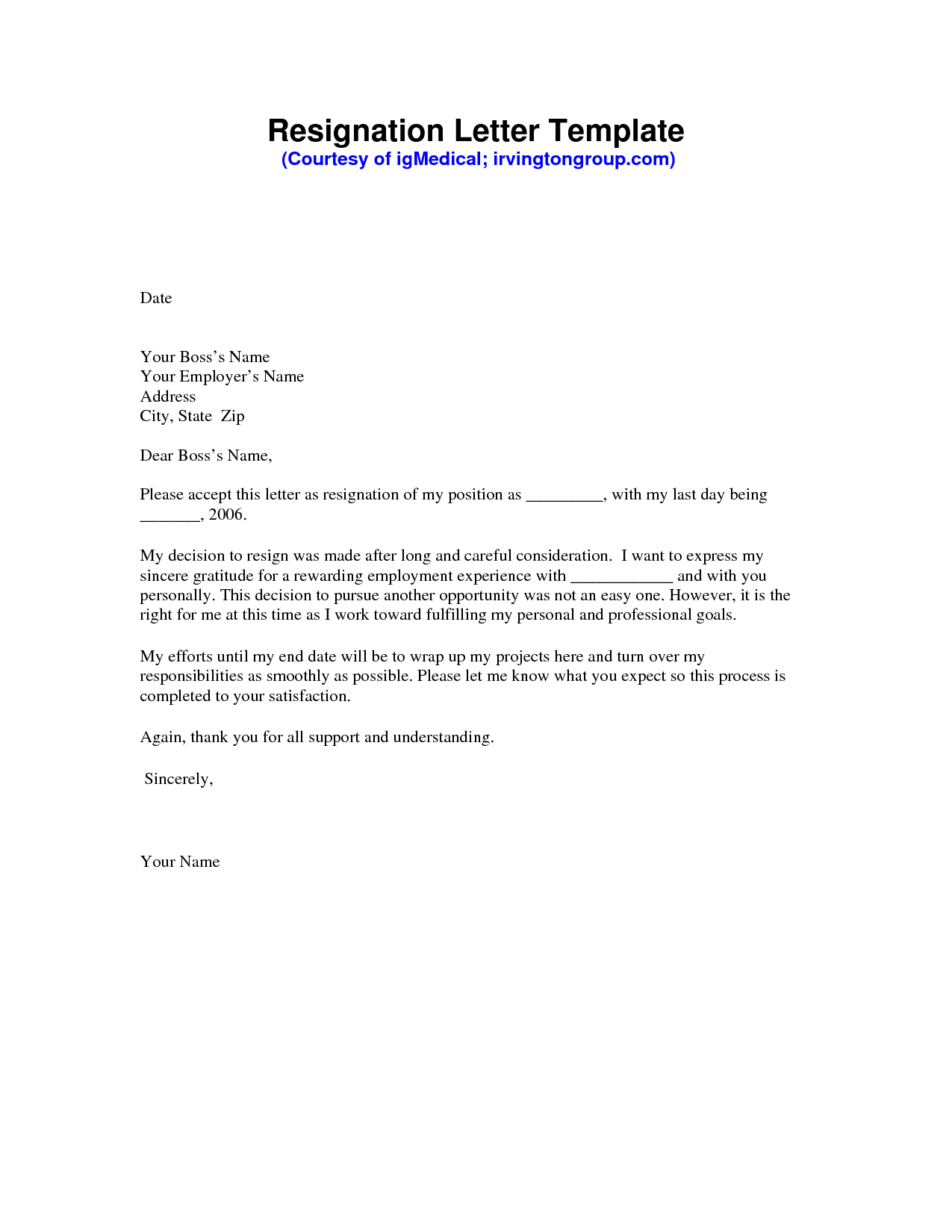 Resignation Letter Sample Pdf