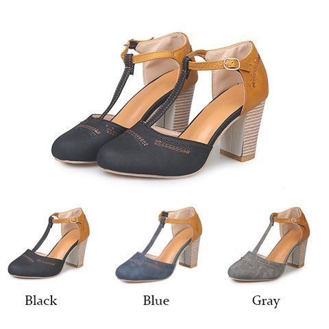 23213b539210 Women Vintage Color Block Sandals Casual Chunky Heel Buckle Shoes – shecici