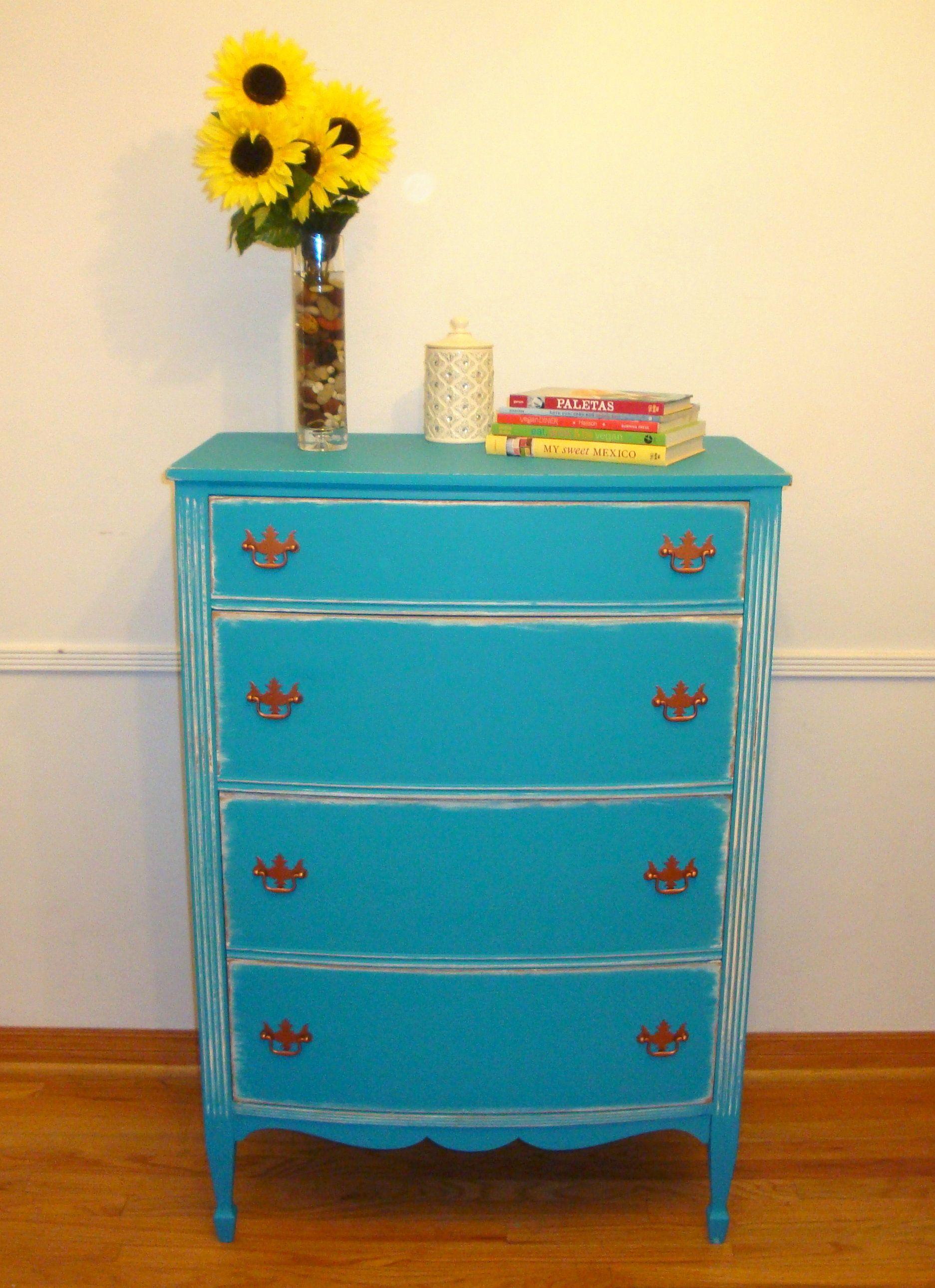 Blueturquoise 4drawer dresser shabby chic ecofinished