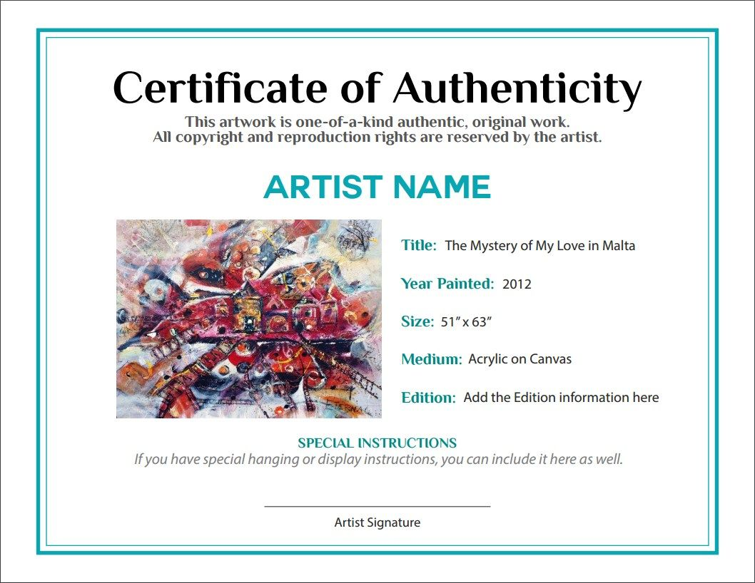 certificates of authenticity templates - certificate of authenticity and bill of sale art