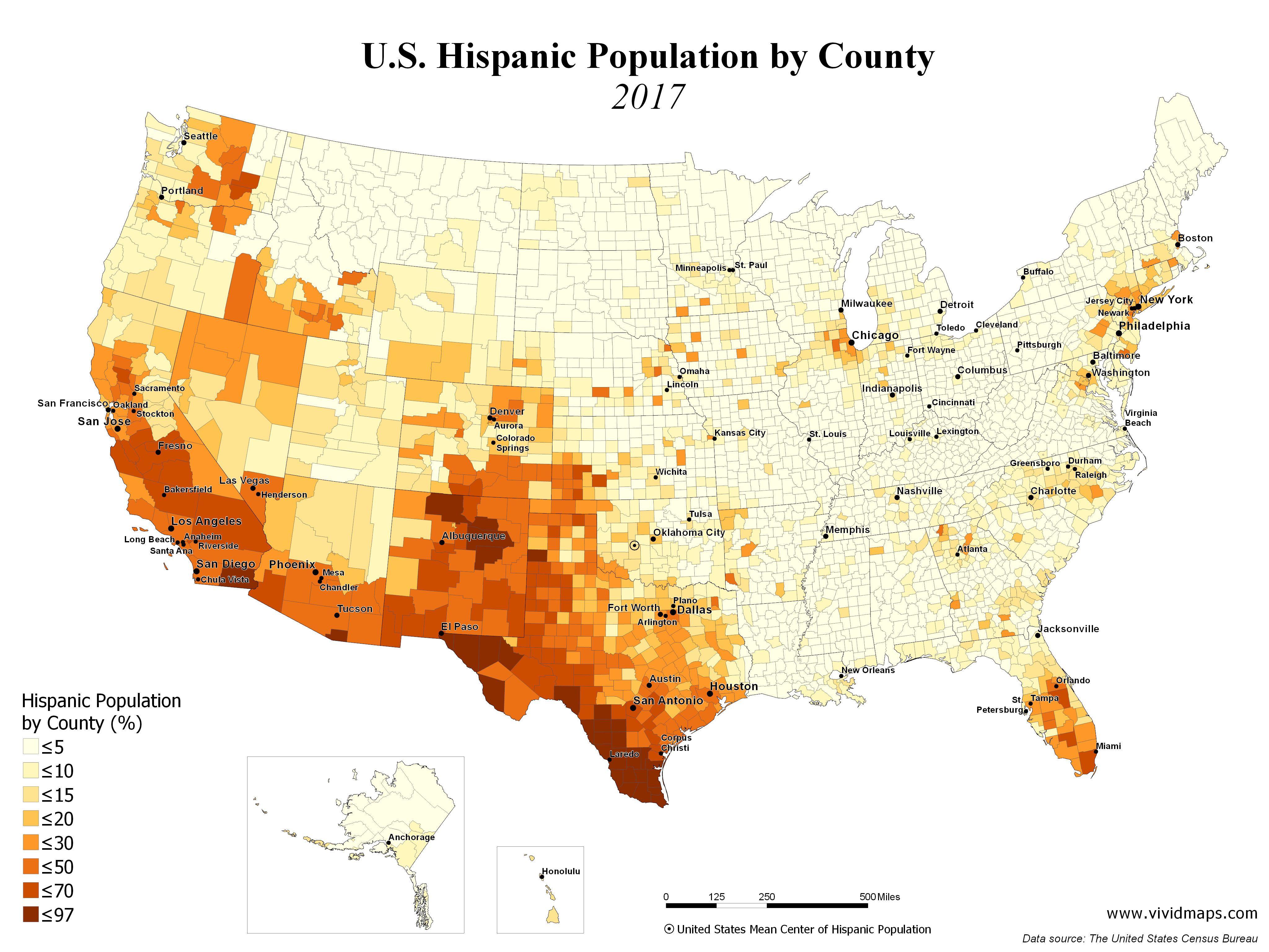 Map Of America 2017.U S Hispanic Population By County 1990 2017 Maps Map