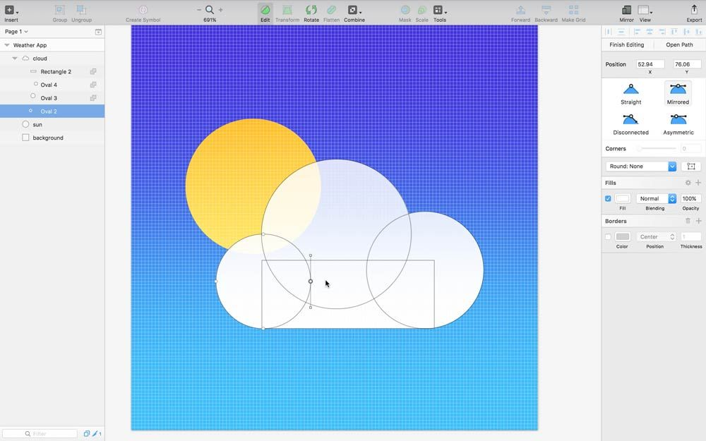 Screenshot Combining Vector Shapes Sketch App Design Sketch