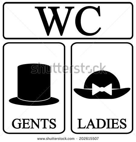 Restroom Icons Male And Female Restroom Symbol Icons In Retro Style Vector Avisos De Banheiro Iluminacao De Bar Placa Banheiro