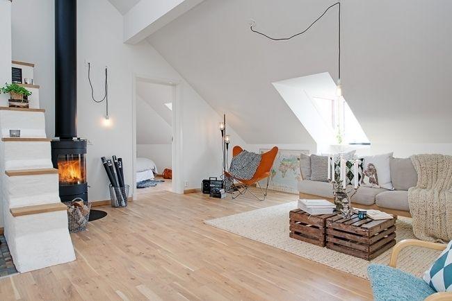 Hochwertig Kleine Dachwohnung Skandinavisch Alvhem Wohnbereich
