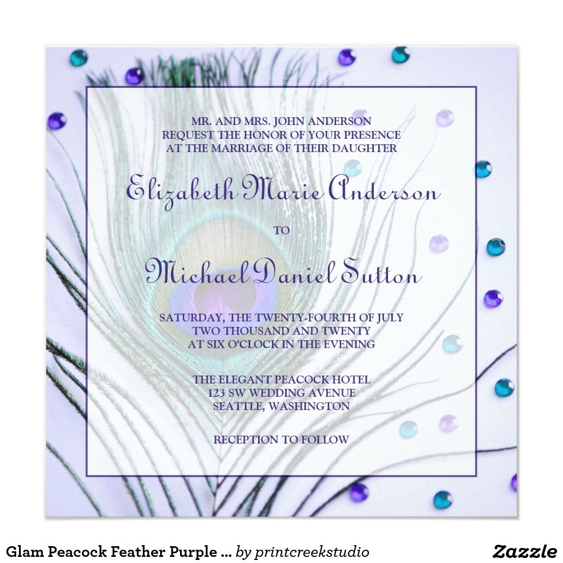 Glam Peacock Feather Purple Wedding 5.25x5.25 Square Paper Invitation Card