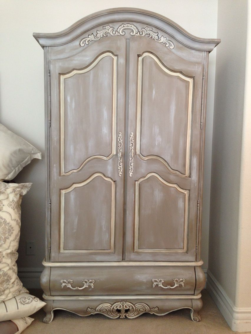 Beautiful Hand Painted Armoire Chalk Painted In A Coco