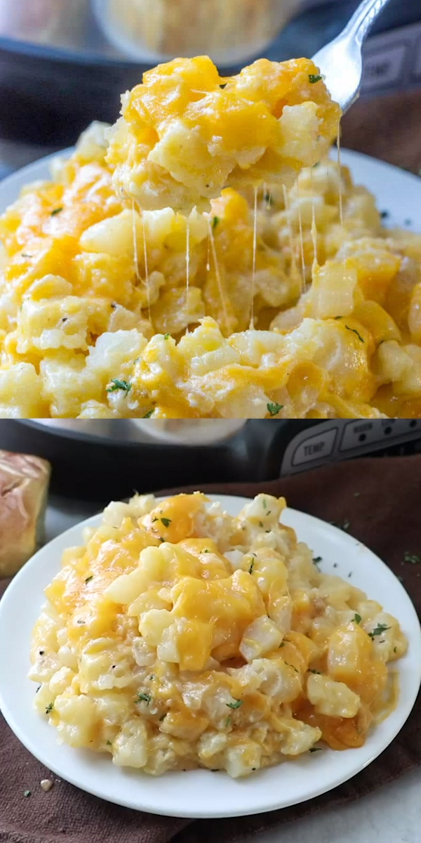 Photo of Easy, cheesy and a family favorite these Crockpot Cheesy Potatoes are a no-fail recipe that is perfect for dinnertime, potlucks or when you're in a hurry and want to fix it and forget it.
