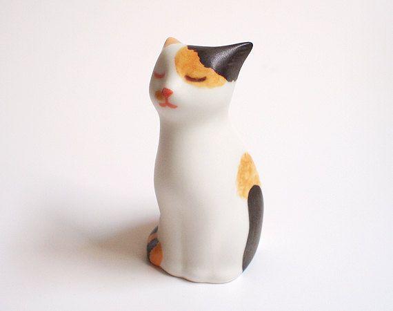 Ceramic Cat Calico Miniature Sculpture by sosim